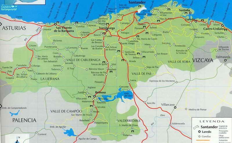 Mapa Turistico De Asturias Y Cantabria.Cantabria Mapa Mapa De Las Comarcas De Cantabria