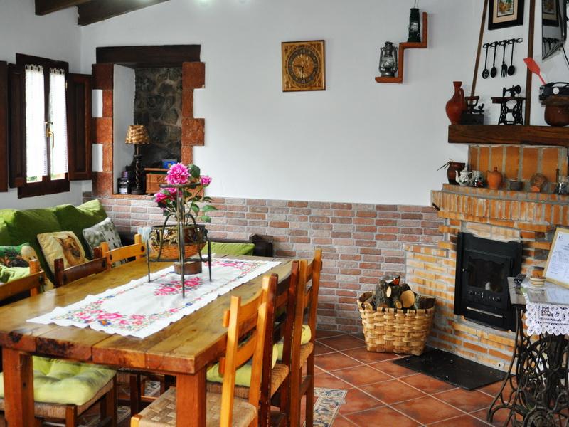 Salón con chimenea de Cabaña Val del Mazo